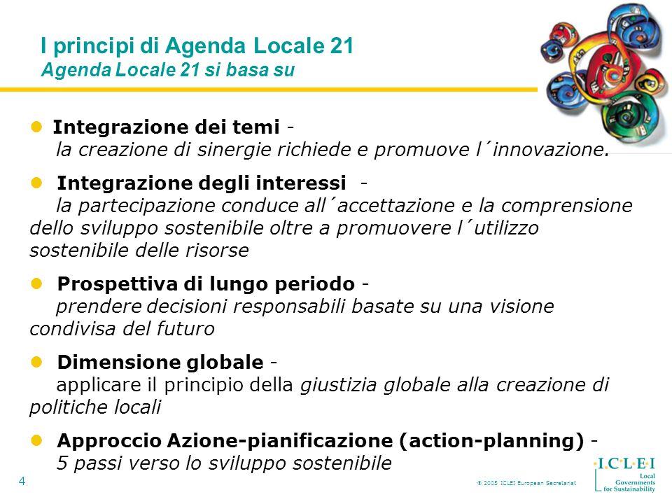 2005 ICLEI European Secretariat 4 Integrazione dei temi - la creazione di sinergie richiede e promuove l´innovazione.