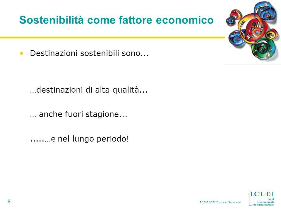 2005 ICLEI European Secretariat 8 Sostenibilità come fattore economico Destinazioni sostenibili sono...
