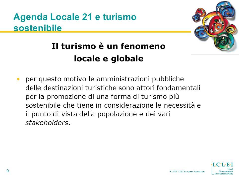 2005 ICLEI European Secretariat 9 Agenda Locale 21 e turismo sostenibile Il turismo è un fenomeno locale e globale per questo motivo le amministrazioni pubbliche delle destinazioni turistiche sono attori fondamentali per la promozione di una forma di turismo più sostenibile che tiene in considerazione le necessità e il punto di vista della popolazione e dei vari stakeholders.
