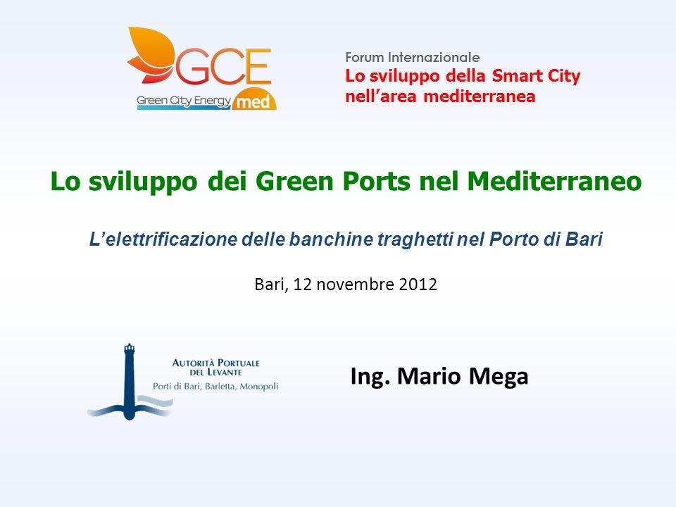 Lo sviluppo dei Green Ports nel Mediterraneo Lelettrificazione delle banchine traghetti nel Porto di Bari Bari, 12 novembre 2012 Forum Internazionale