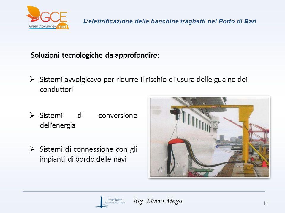 Lelettrificazione delle banchine traghetti nel Porto di Bari 11 Ing. Mario Mega Sistemi avvolgicavo per ridurre il rischio di usura delle guaine dei c