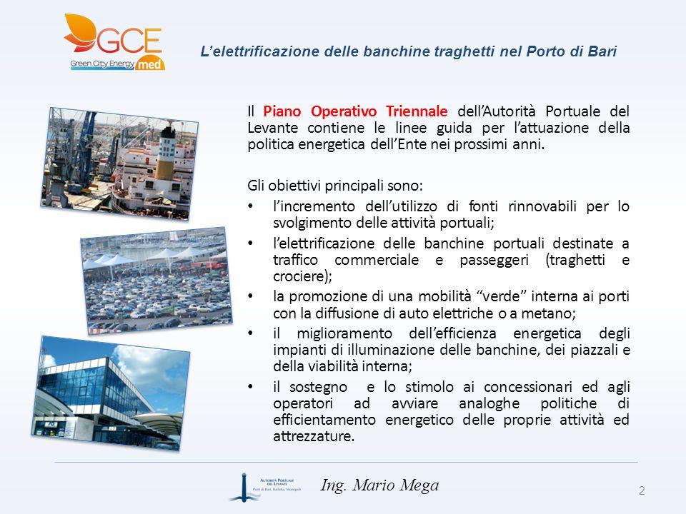Lelettrificazione delle banchine traghetti nel Porto di Bari Il Piano Operativo Triennale dellAutorità Portuale del Levante contiene le linee guida pe