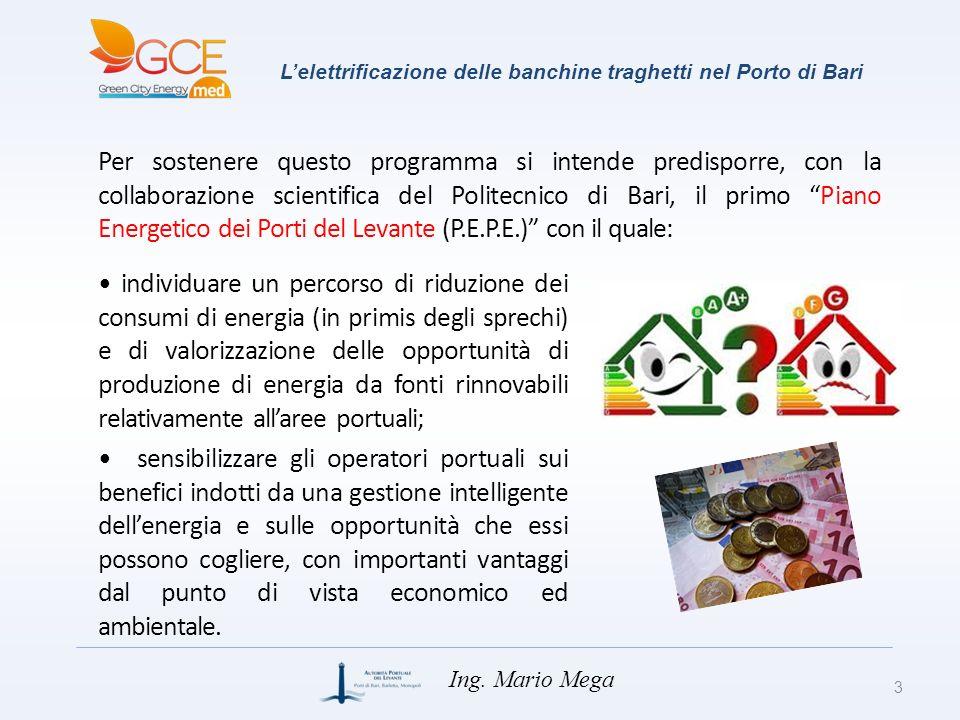 Lelettrificazione delle banchine traghetti nel Porto di Bari Per sostenere questo programma si intende predisporre, con la collaborazione scientifica