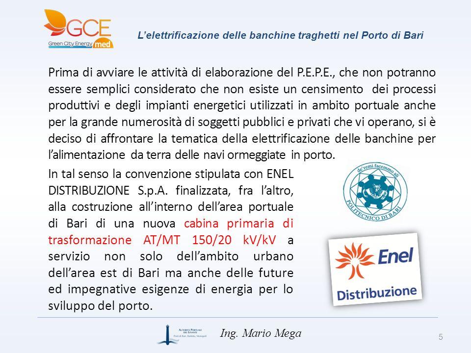 Lelettrificazione delle banchine traghetti nel Porto di Bari Prima di avviare le attività di elaborazione del P.E.P.E., che non potranno essere sempli