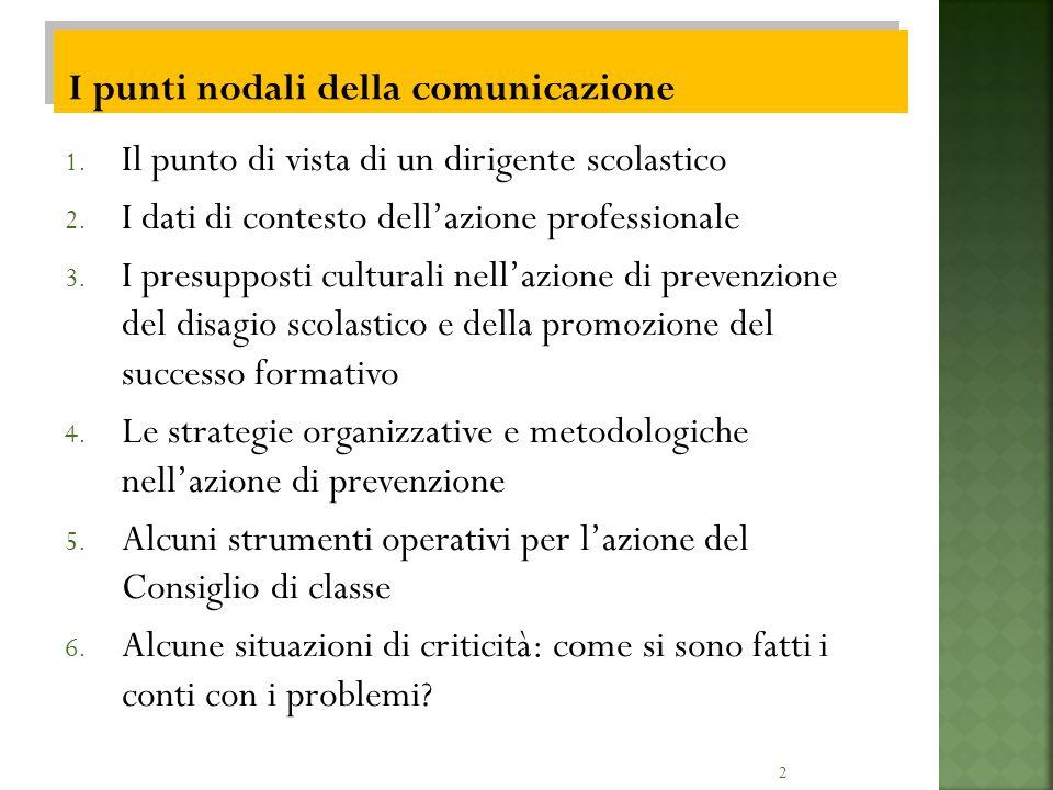 2 1. Il punto di vista di un dirigente scolastico 2. I dati di contesto dellazione professionale 3. I presupposti culturali nellazione di prevenzione