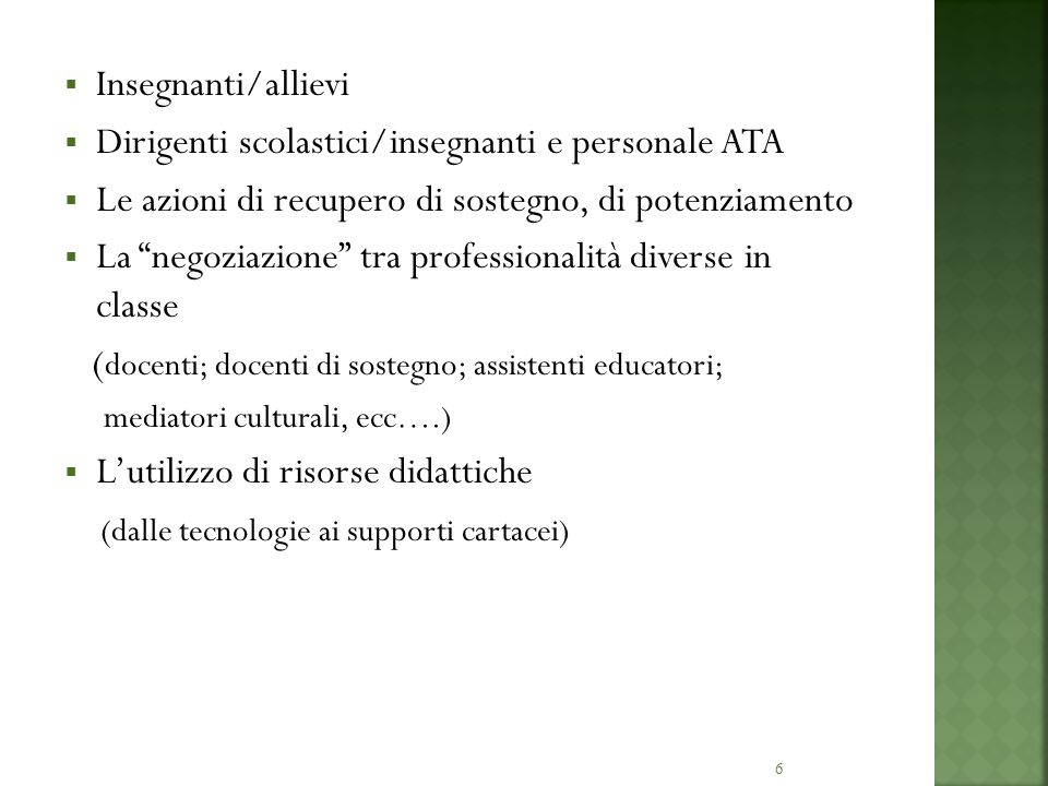 6 Insegnanti/allievi Dirigenti scolastici/insegnanti e personale ATA Le azioni di recupero di sostegno, di potenziamento La negoziazione tra professio