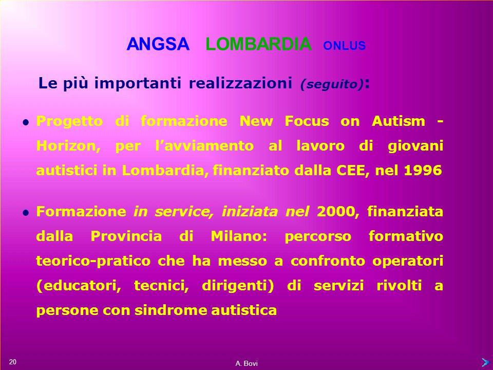 A. Bovi Le più importanti realizzazioni: Progetto Sindrome autistica, approvato dalla Regione Lombardia nel 1995 Osservatorio regionale sullautismo e