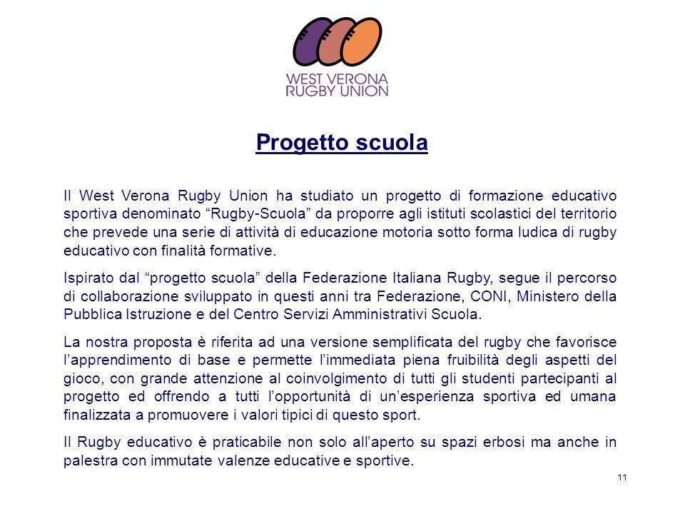 11 Il West Verona Rugby Union ha studiato un progetto di formazione educativo sportiva denominato Rugby-Scuola da proporre agli istituti scolastici de