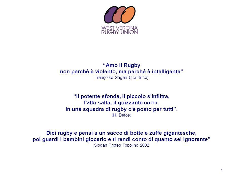 2 Amo il Rugby non perché è violento, ma perché è intelligente Françoise Sagan (scrittrice) Il potente sfonda, il piccolo s'infiltra, l'alto salta, il