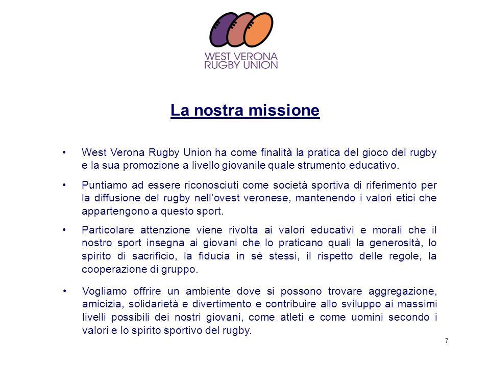 8 Il Rugby è fortemente legato alla dimensione educativa e formativa dei giovani, favorisce la socializzazione, l autodisciplina, la fiducia in sé stessi.