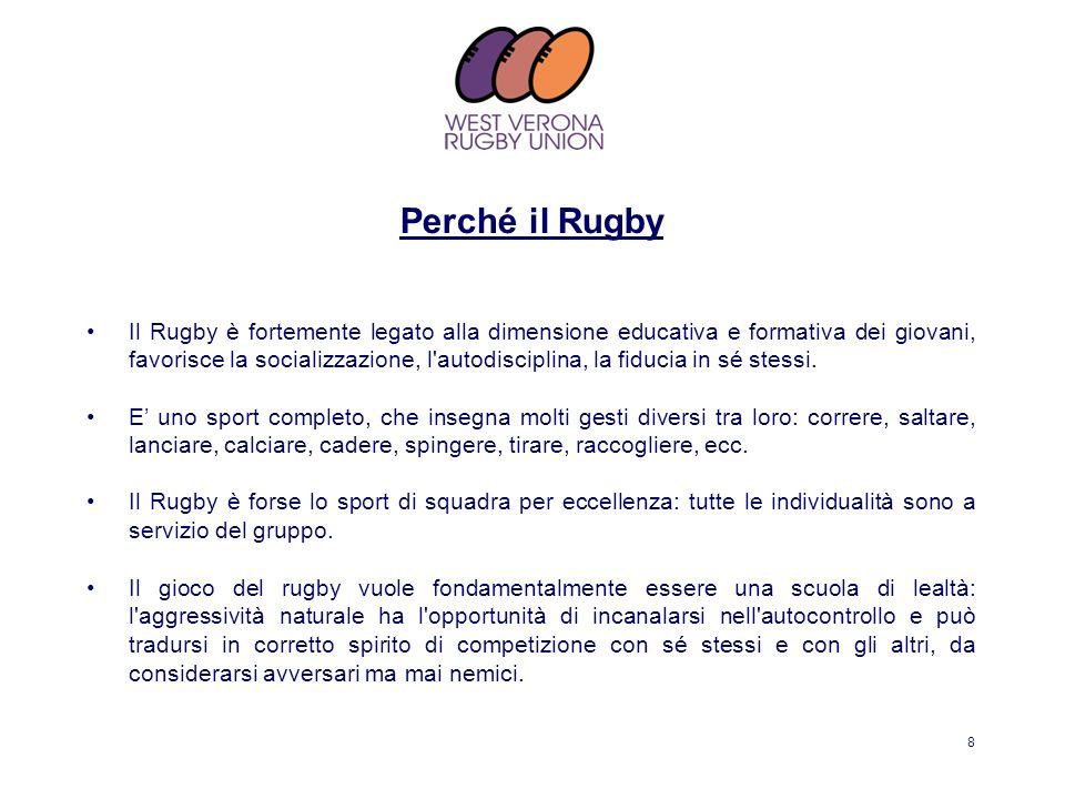 8 Il Rugby è fortemente legato alla dimensione educativa e formativa dei giovani, favorisce la socializzazione, l'autodisciplina, la fiducia in sé ste
