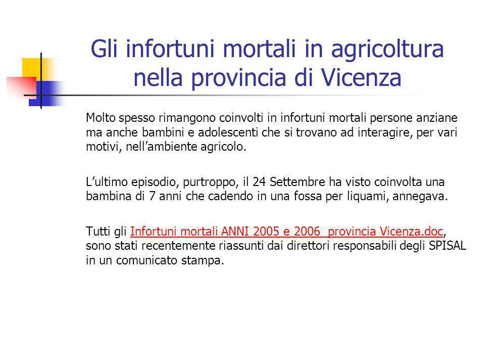 Gli infortuni mortali in agricoltura nella provincia di Vicenza Molto spesso rimangono coinvolti in infortuni mortali persone anziane ma anche bambini e adolescenti che si trovano ad interagire, per vari motivi, nellambiente agricolo.