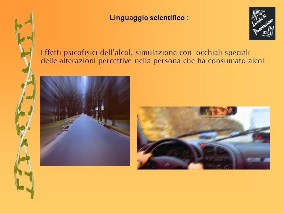 Linguaggio scientifico : Effetti psicofisici dellalcol, simulazione con occhiali speciali delle alterazioni percettive nella persona che ha consumato alcol