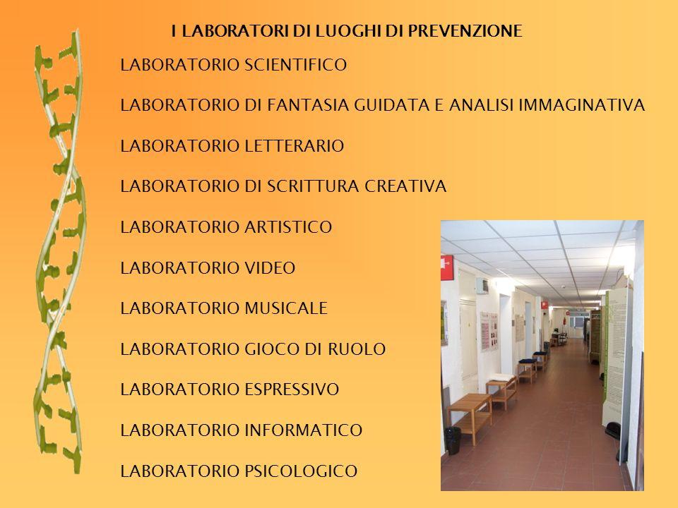 I LABORATORI DI LUOGHI DI PREVENZIONE LABORATORIO SCIENTIFICO LABORATORIO DI FANTASIA GUIDATA E ANALISI IMMAGINATIVA LABORATORIO LETTERARIO LABORATORIO DI SCRITTURA CREATIVA LABORATORIO ARTISTICO LABORATORIO VIDEO LABORATORIO MUSICALE LABORATORIO GIOCO DI RUOLO LABORATORIO ESPRESSIVO LABORATORIO INFORMATICO LABORATORIO PSICOLOGICO