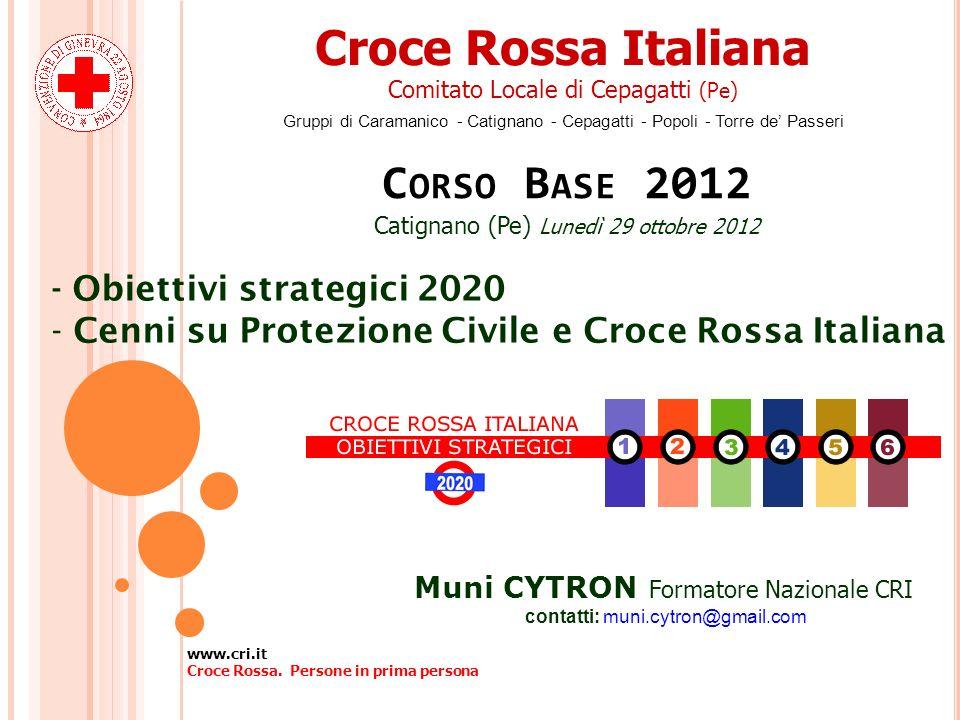 Croce Rossa Italiana Comitato Locale di Cepagatti (Pe) Gruppi di Caramanico - Catignano - Cepagatti - Popoli - Torre de Passeri C ORSO B ASE 2012 Cati