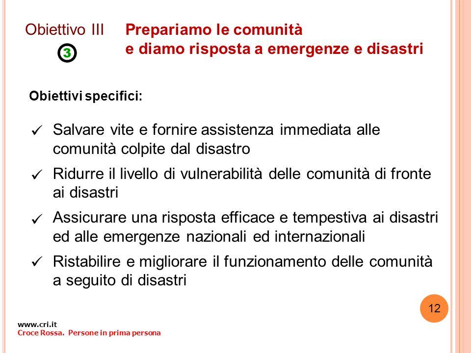 Prepariamo le comunità e diamo risposta a emergenze e disastri Obiettivi specifici: Obiettivo III Salvare vite e fornire assistenza immediata alle com