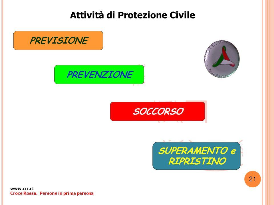 Attività di Protezione Civile www.cri.it Croce Rossa. Persone in prima persona 21