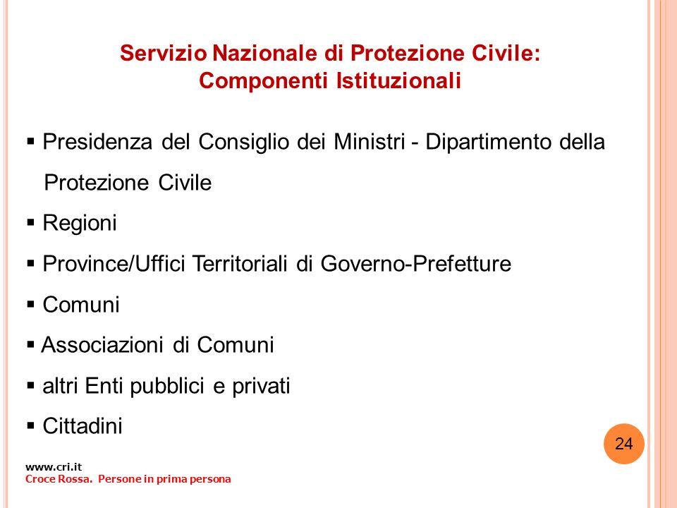 Servizio Nazionale di Protezione Civile: Componenti Istituzionali Presidenza del Consiglio dei Ministri - Dipartimento della Protezione Civile Regioni