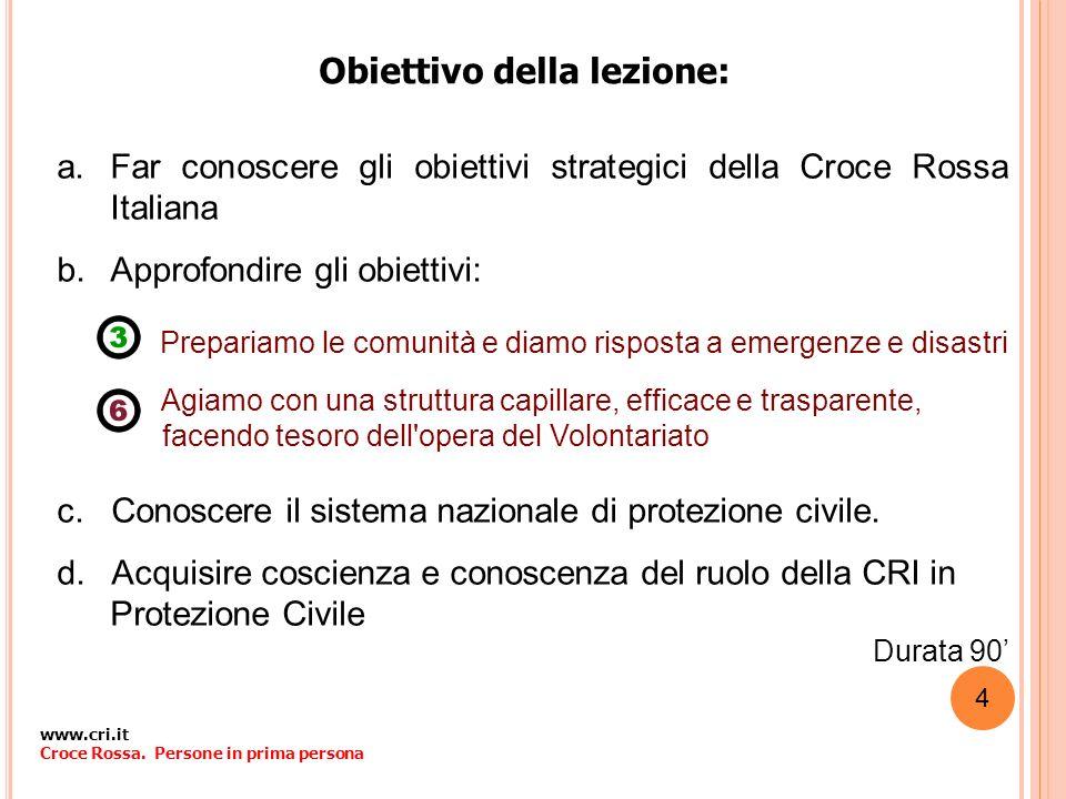 Obiettivo della lezione: a.Far conoscere gli obiettivi strategici della Croce Rossa Italiana b.Approfondire gli obiettivi: Prepariamo le comunità e di