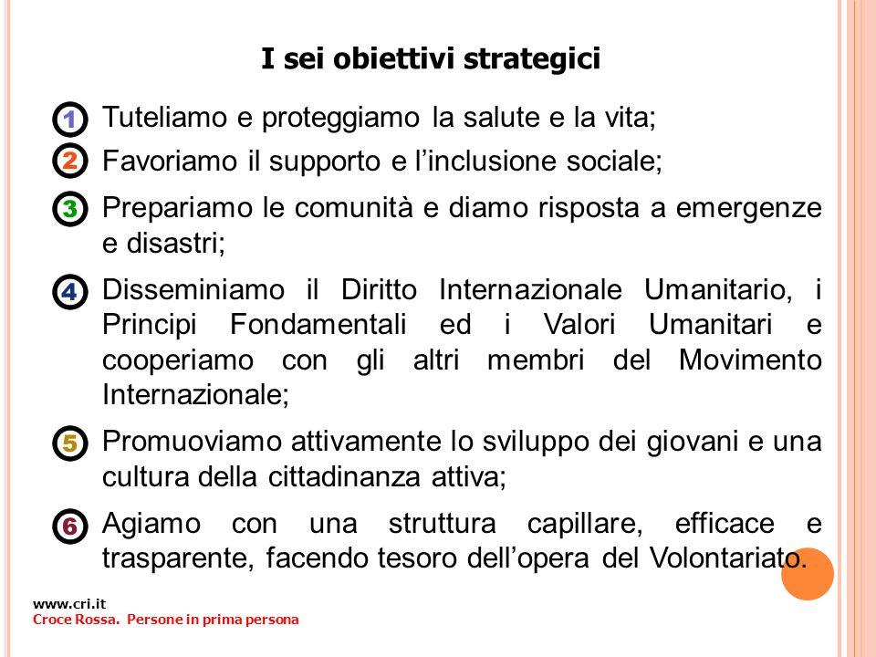 I sei obiettivi strategici Tuteliamo e proteggiamo la salute e la vita; Favoriamo il supporto e linclusione sociale; Prepariamo le comunità e diamo ri