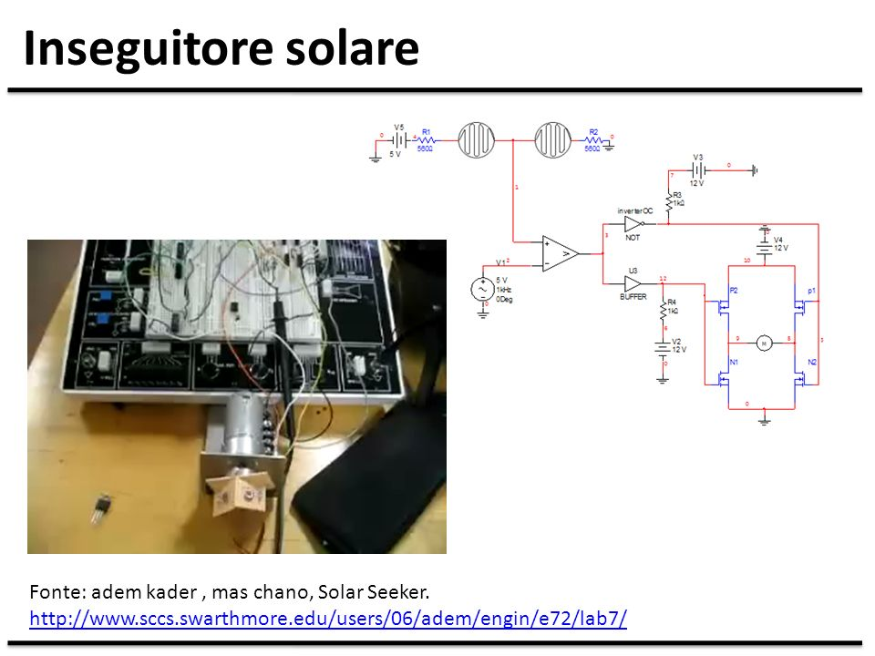 Inseguitore solare Fonte: adem kader, mas chano, Solar Seeker. http://www.sccs.swarthmore.edu/users/06/adem/engin/e72/lab7/ http://www.sccs.swarthmore