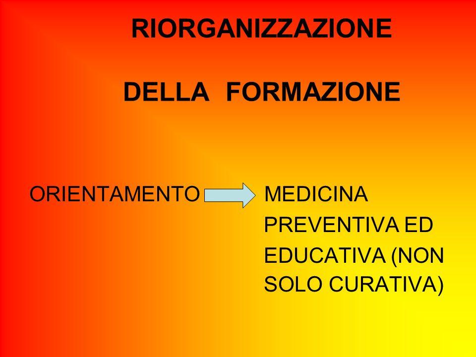 RIORGANIZZAZIONE DELLA FORMAZIONE ORIENTAMENTO MEDICINA PREVENTIVA ED EDUCATIVA (NON SOLO CURATIVA)