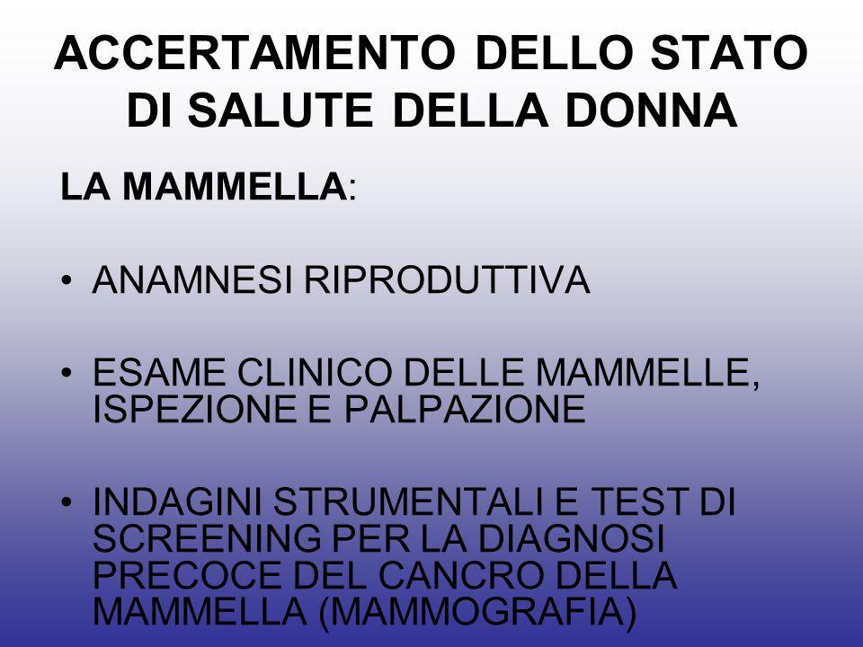 ACCERTAMENTO DELLO STATO DI SALUTE DELLA DONNA LA MAMMELLA: ANAMNESI RIPRODUTTIVA ESAME CLINICO DELLE MAMMELLE, ISPEZIONE E PALPAZIONE INDAGINI STRUMENTALI E TEST DI SCREENING PER LA DIAGNOSI PRECOCE DEL CANCRO DELLA MAMMELLA (MAMMOGRAFIA)