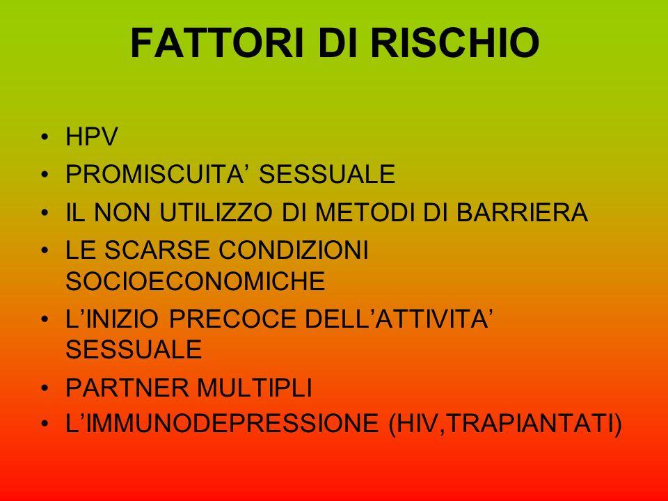 FATTORI DI RISCHIO HPV PROMISCUITA SESSUALE IL NON UTILIZZO DI METODI DI BARRIERA LE SCARSE CONDIZIONI SOCIOECONOMICHE LINIZIO PRECOCE DELLATTIVITA SESSUALE PARTNER MULTIPLI LIMMUNODEPRESSIONE (HIV,TRAPIANTATI)