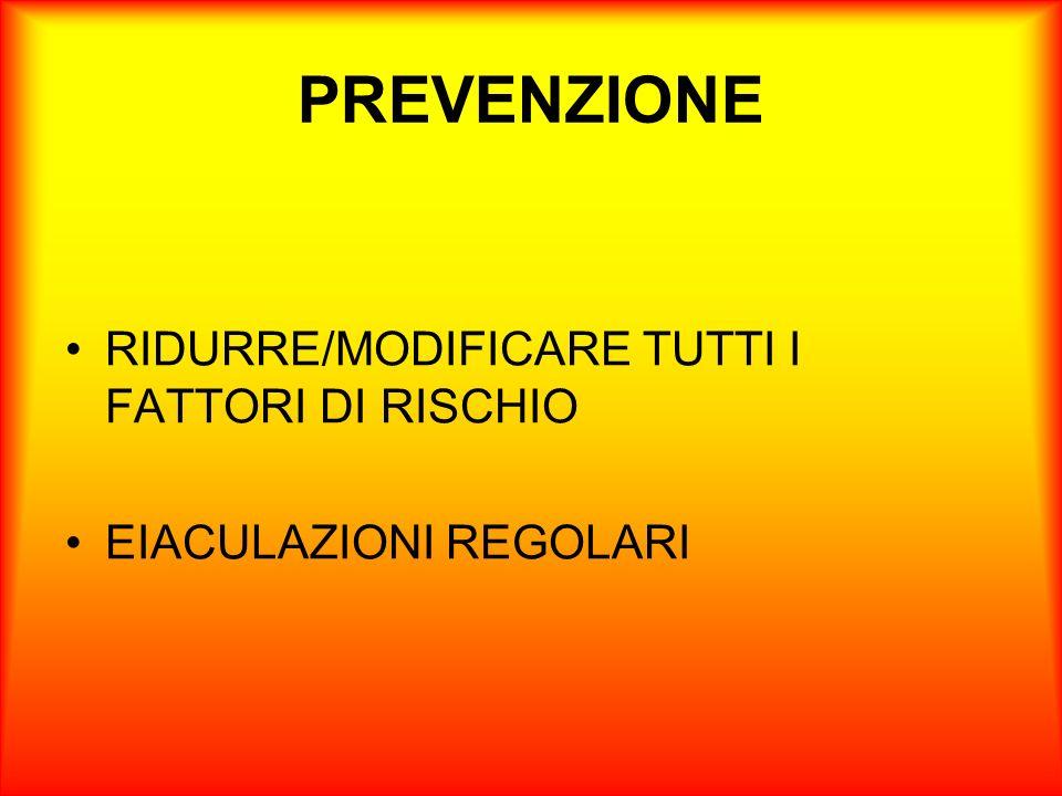 PREVENZIONE RIDURRE/MODIFICARE TUTTI I FATTORI DI RISCHIO EIACULAZIONI REGOLARI