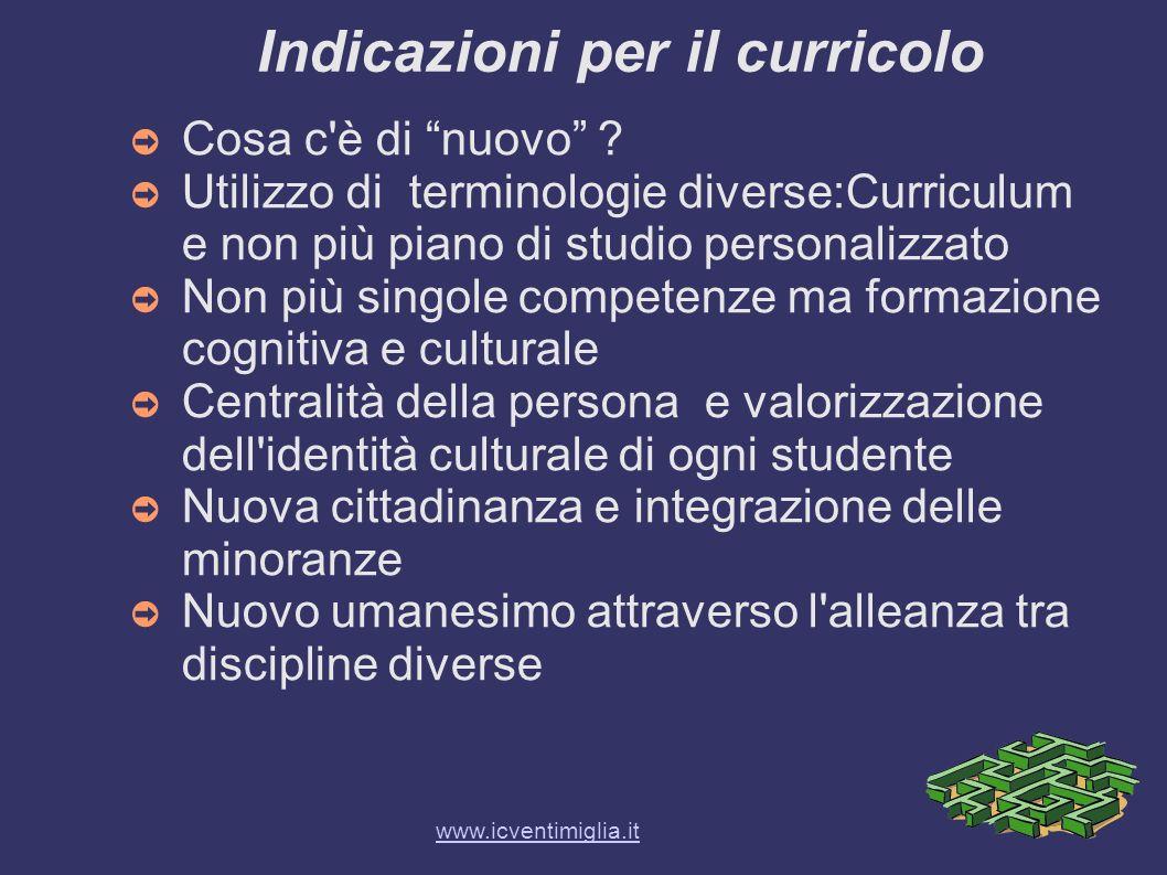 Indicazioni per il curricolo Cosa c'è di nuovo ? Utilizzo di terminologie diverse:Curriculum e non più piano di studio personalizzato Non più singole