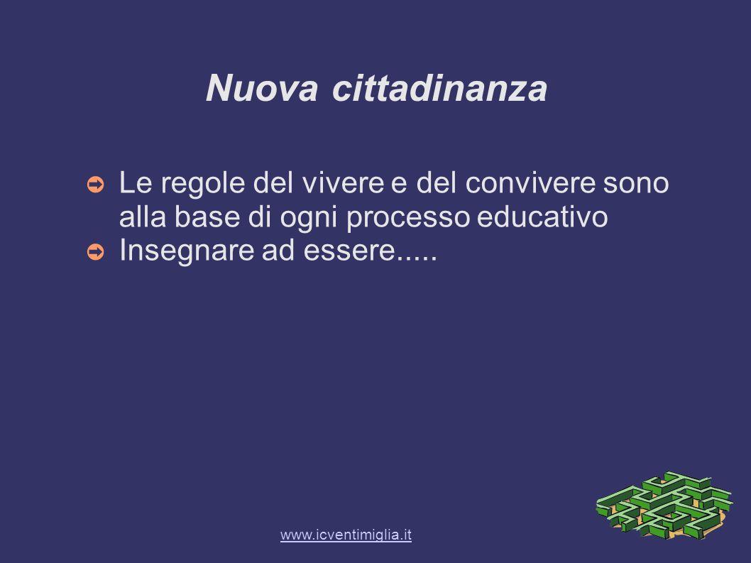 Nuova cittadinanza Le regole del vivere e del convivere sono alla base di ogni processo educativo Insegnare ad essere..... www.icventimiglia.it