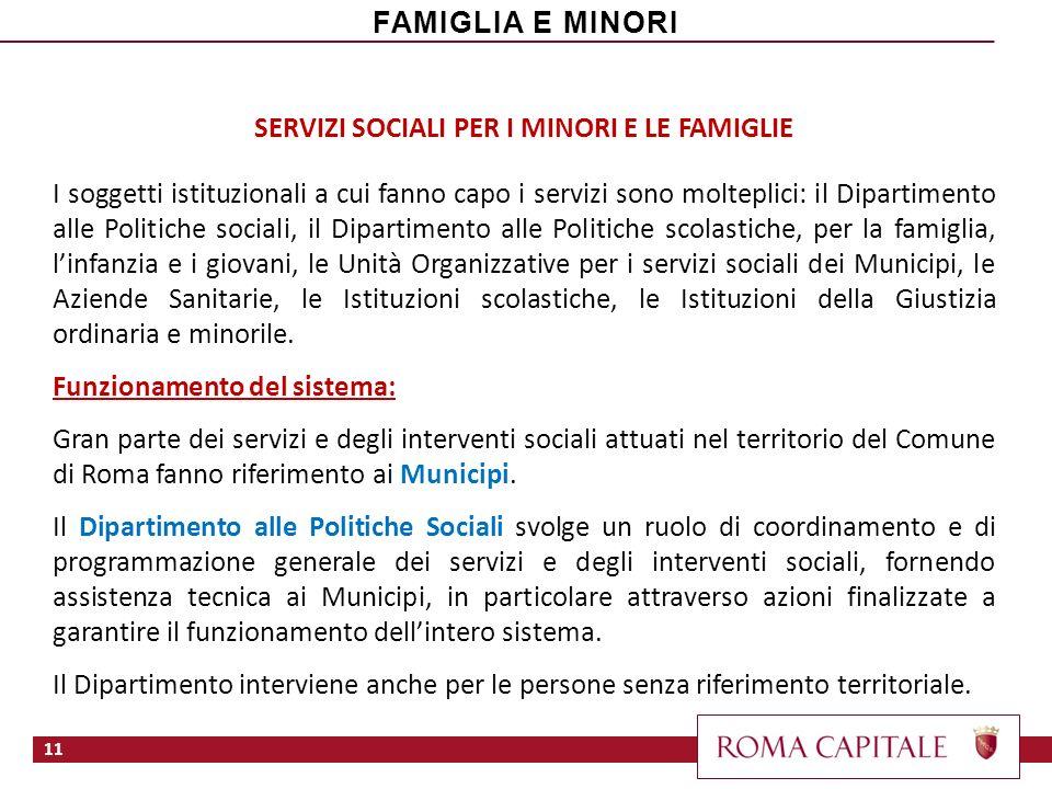 SERVIZI SOCIALI PER I MINORI E LE FAMIGLIE I soggetti istituzionali a cui fanno capo i servizi sono molteplici: il Dipartimento alle Politiche sociali