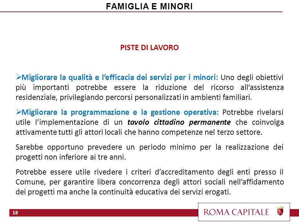 PISTE DI LAVORO Migliorare la qualità e lefficacia dei servizi per i minori: Uno degli obiettivi più importanti potrebbe essere la riduzione del ricor