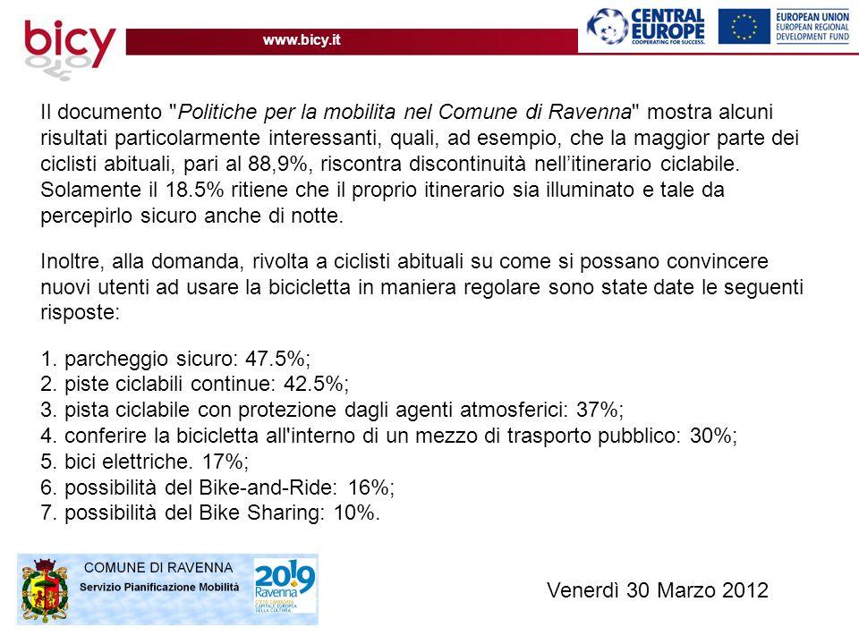 www.bicy.it Il documento Politiche per la mobilita nel Comune di Ravenna mostra alcuni risultati particolarmente interessanti, quali, ad esempio, che la maggior parte dei ciclisti abituali, pari al 88,9%, riscontra discontinuità nellitinerario ciclabile.