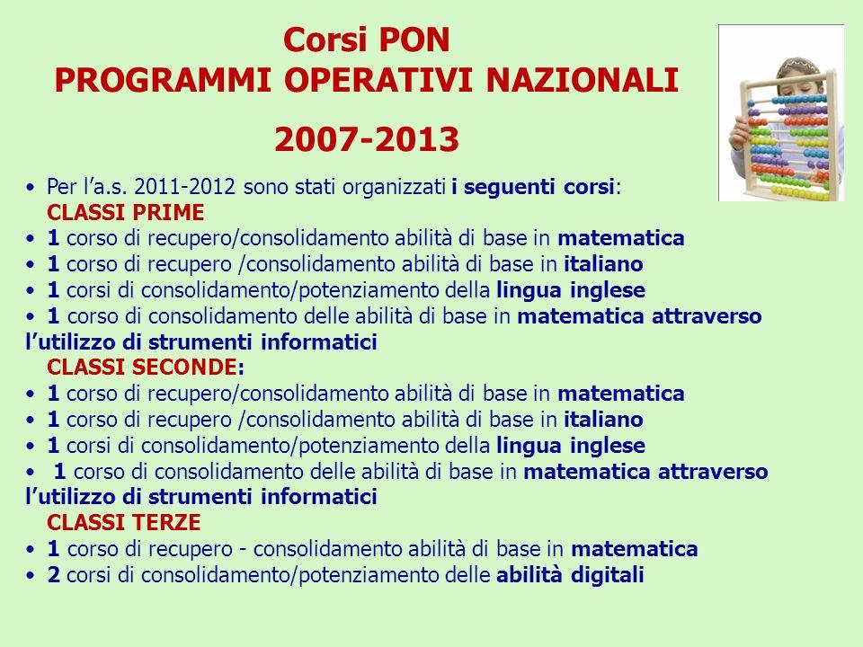 Corsi PON PROGRAMMI OPERATIVI NAZIONALI 2007-2013 Per la.s. 2011-2012 sono stati organizzati i seguenti corsi: CLASSI PRIME 1 corso di recupero/consol