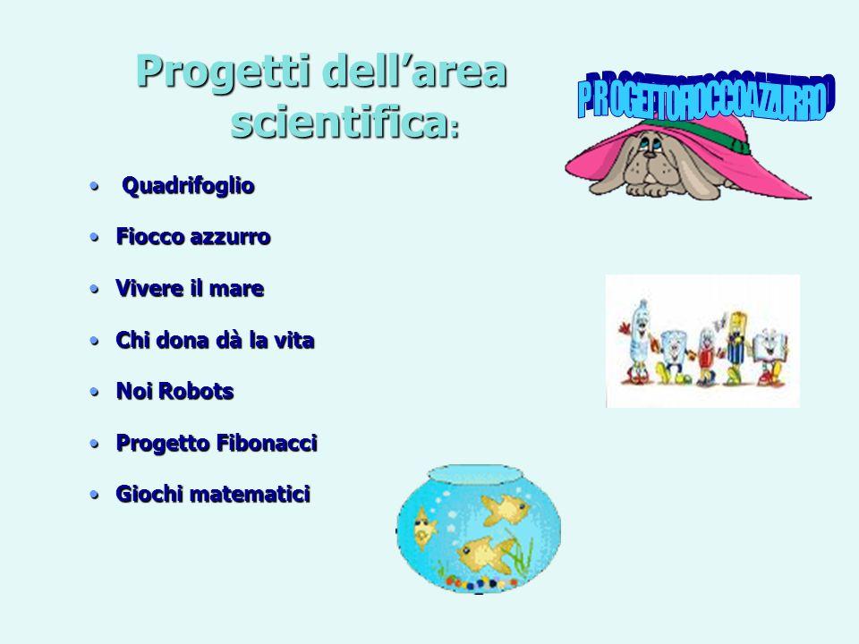 Progetti dellarea scientifica : Quadrifoglio FioccoFiocco azzurro VivereVivere il mare ChiChi dona dà la vita NoiNoi Robots ProgettoProgetto Fibonacci