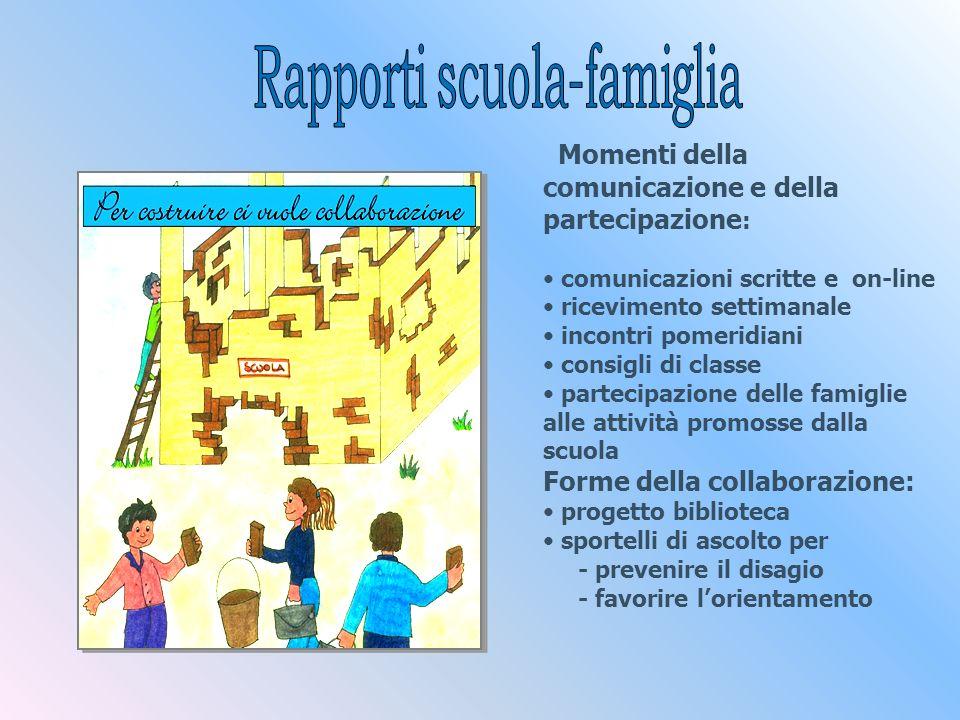 Momenti della comunicazione e della partecipazione : comunicazioni scritte e on-line ricevimento settimanale incontri pomeridiani consigli di classe p