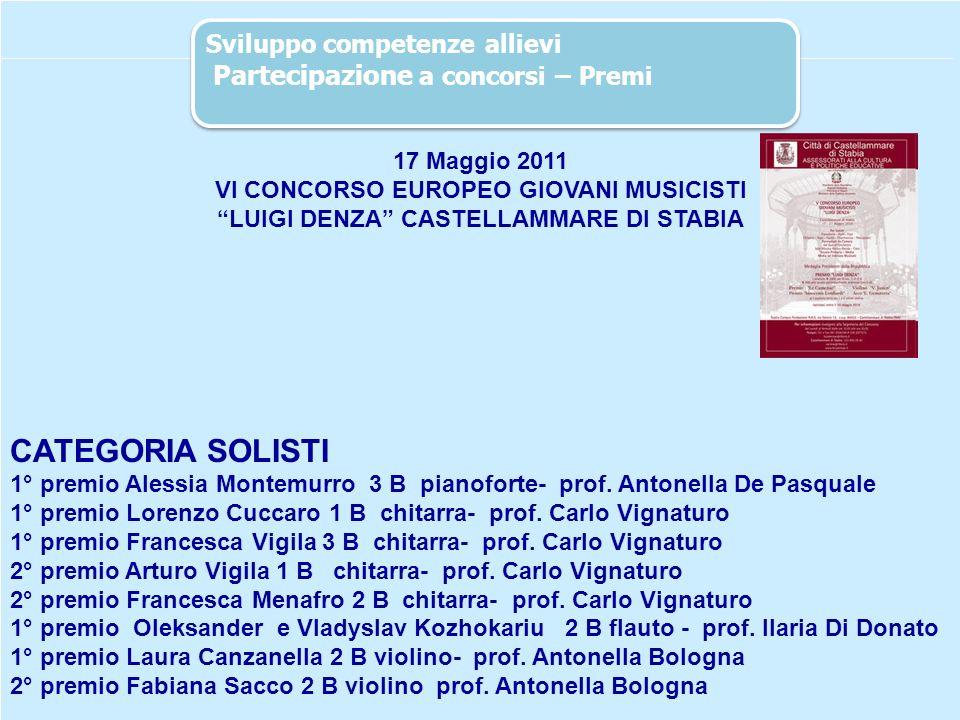 37 17 Maggio 2011 VI CONCORSO EUROPEO GIOVANI MUSICISTI LUIGI DENZA CASTELLAMMARE DI STABIA CATEGORIA SOLISTI 1° premio Alessia Montemurro 3 B pianofo
