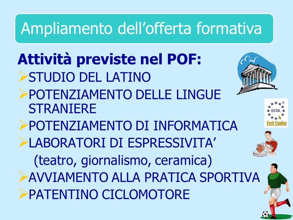 Ampliamento dellofferta formativa Attività previste nel POF: STUDIO DEL LATINO POTENZIAMENTO DELLE LINGUE STRANIERE POTENZIAMENTO DI INFORMATICA LABOR