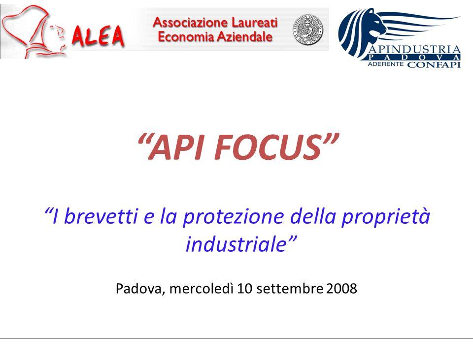 API FOCUS I brevetti e la protezione della proprietà industriale Padova, mercoledì 10 settembre 2008