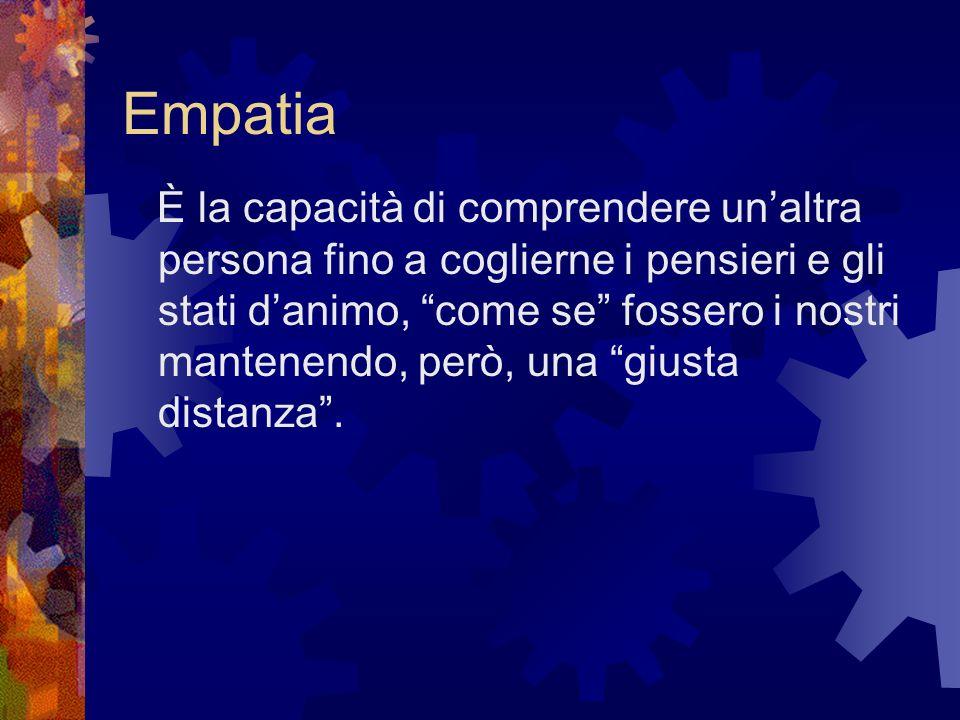 Empatia È la capacità di comprendere unaltra persona fino a coglierne i pensieri e gli stati danimo, come se fossero i nostri mantenendo, però, una gi