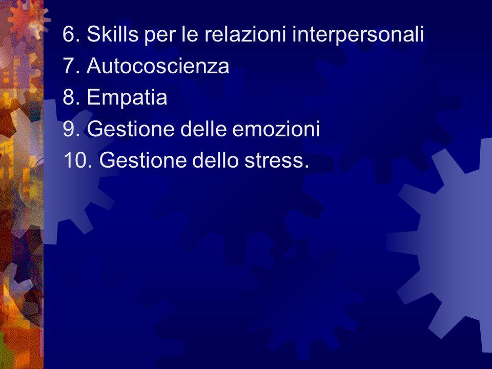 6. Skills per le relazioni interpersonali 7. Autocoscienza 8. Empatia 9. Gestione delle emozioni 10. Gestione dello stress.