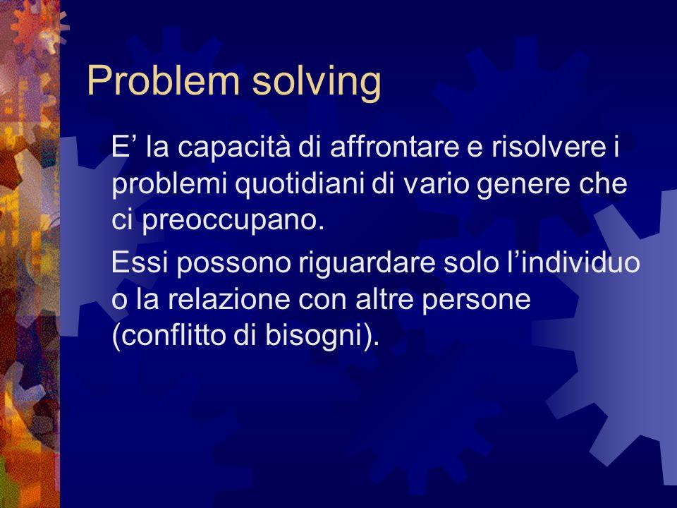 Problem solving E la capacità di affrontare e risolvere i problemi quotidiani di vario genere che ci preoccupano. Essi possono riguardare solo lindivi