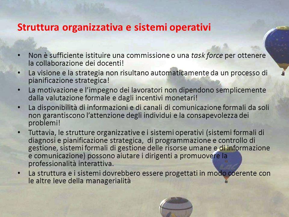 Struttura organizzativa e sistemi operativi Non è sufficiente istituire una commissione o una task force per ottenere la collaborazione dei docenti! L
