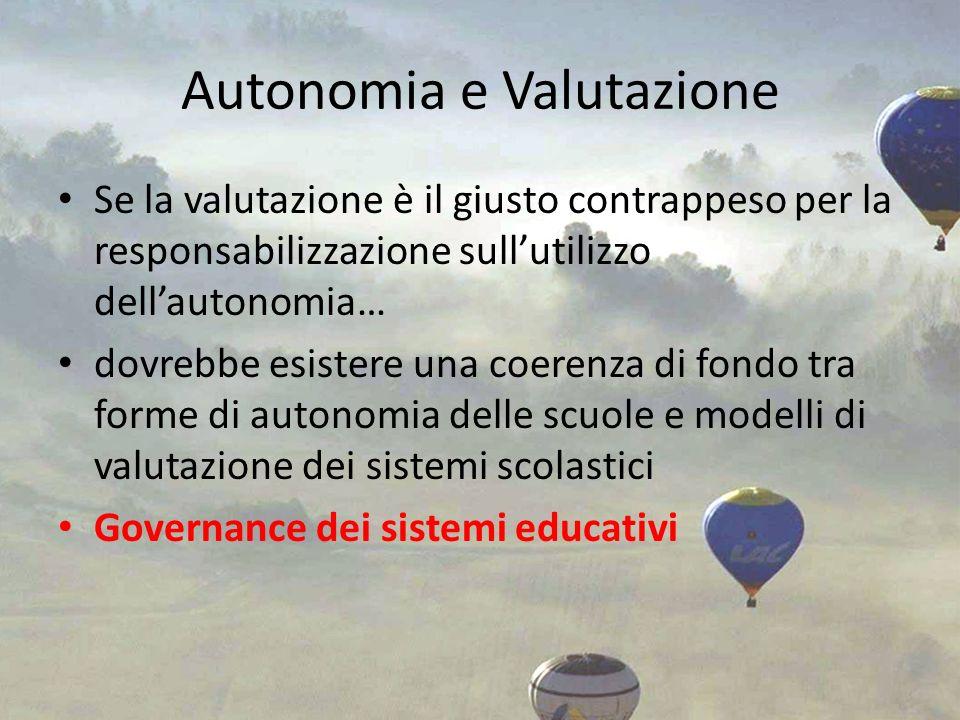 Autonomia e Valutazione Se la valutazione è il giusto contrappeso per la responsabilizzazione sullutilizzo dellautonomia… dovrebbe esistere una coeren