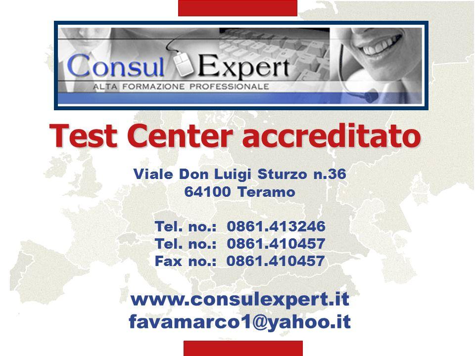 Viale Don Luigi Sturzo n.36 64100 Teramo Tel. no.: 0861.413246 Tel. no.: 0861.410457 Fax no.: 0861.410457 www.consulexpert.it favamarco1@yahoo.it Test