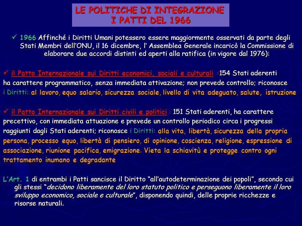 1966 Affinché i Diritti Umani potessero essere maggiormente osservati da parte degli Stati Membri dellONU, il 16 dicembre, l Assemblea Generale incari