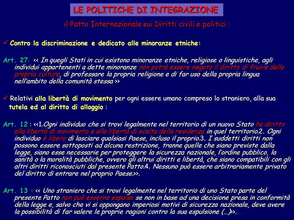 il Patto Internazionale sui Diritti civili e politici : Contro la discriminazione e dedicato alle minoranze etniche: Contro la discriminazione e dedic