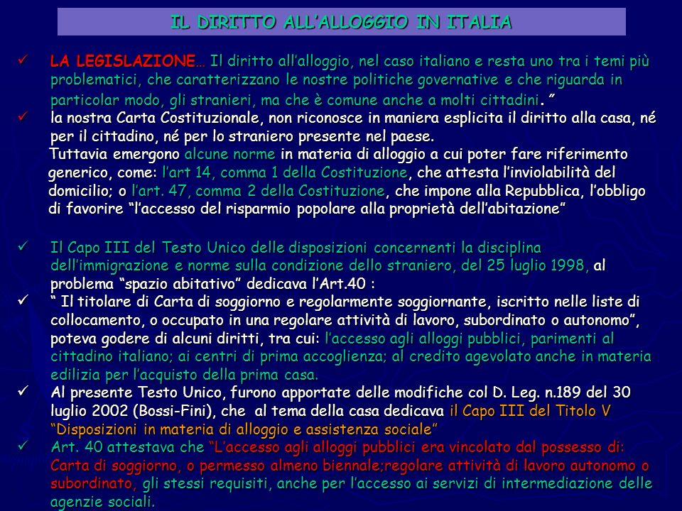 IL DIRITTO ALLALLOGGIO IN ITALIA LA LEGISLAZIONE…Il diritto allalloggio, nel caso italiano e resta uno tra i temi più problematici, che caratterizzano