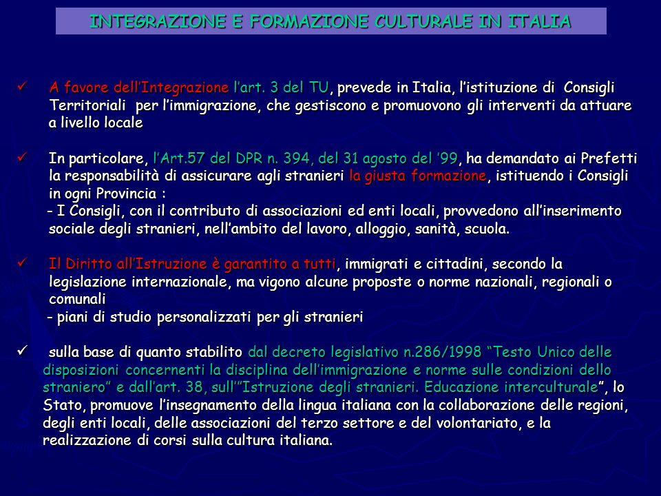 INTEGRAZIONE E FORMAZIONE CULTURALE IN ITALIA A favore dellIntegrazione lart. 3 del TU, prevede in Italia, listituzione di Consigli Territoriali per l